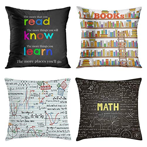 Emvency Set of 4 Throw Pillow Covers and Classroom Mathematics Teacher Read Colorful Elementary Bookstore Doodle Decorative Pillow Cases Home Decor Square 18x18 Inches Pillowcases
