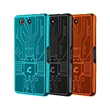 Xperia Z3 Compact Case, Cruzerlite Bugdroid Circuit TPU Bundle of 3 Cases Compatible for Sony Xperia Z3 Compact - Teal/Black/Orange