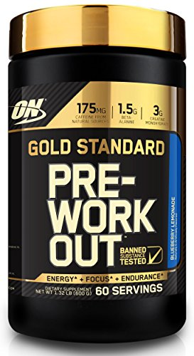 Optimum Nutrition Gold Standard Pre-Workout with Creatine, Beta-Alanine, and Caffeine for Energy, Flavor: Blueberry Lemonade, 60 Servings, 1.32 Pound