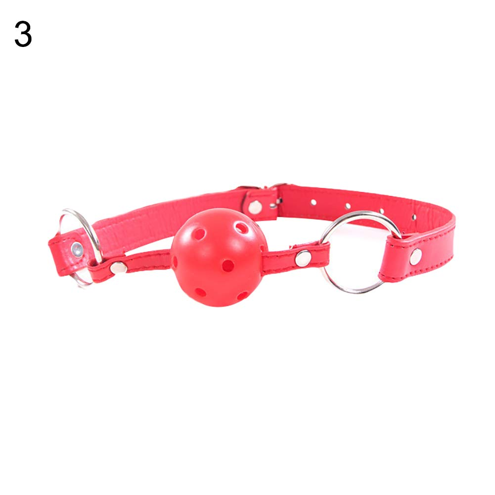 LeSharp Couple Sharing Sex Toys, Mouth Gag Ball Harness Oral Fixation Restraints Bondage Adults Sex Game Toy - Red
