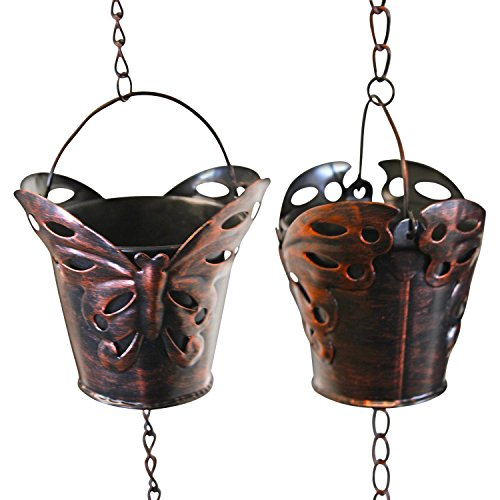 Rain Chain - 65 Inch Length Hanging Rain Catcher with Six Copper Patina Butterfly Cups, Soothing Waterfall Sound, Alternative to Unsightly Gutter Downspouts, Easy Installation