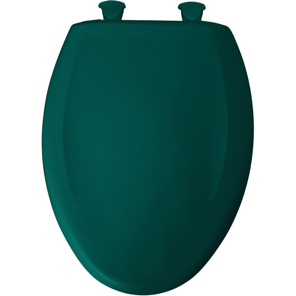 Bemis 1200SLOWT 655 Slow Close Sta-Tite Elongated Closed Front Toilet Seat, Teal