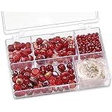 Knorr prandell 216049150 Sortimentsbox Glasperlen (klein, 11,5 x 7,5 x 2,5 cm, 80 g) rot