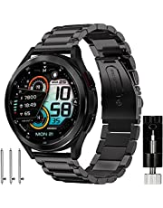 Galaxy Watch 4 Classic Bands 46mm 42mm, Galaxy Watch 4 Band 44mm 40mm Men, Olytop 20mm Solid Stainless Steel Wristband Business Metal Strap Bracelet for Samsung Galaxy Watch4 44mm/40mm Black Silver
