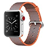 Smart Watch Band, Uitee Newest Woven Nylon Band for Apple Watch Series 42mm 3/2/1 , Comfortably Light With Fabric-Like Feel Wrist Strap Replacement with Classic Buckle (Spicy Orange Check Woven Nylon)