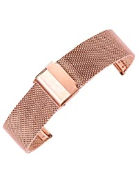 14mm Decent Mesh Milanese Watch Strap Rose Gold Chain Watch Belt Wristband for Women 304 Stainless Steel