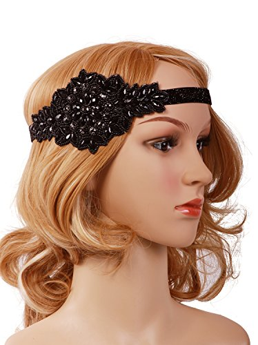 [Vijiv Black Silver Art Deco 1920s Flapper Headband Headpiece Black] (Flappers 1920)