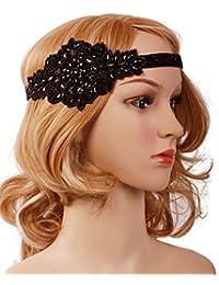 Black Silver Art Deco 1920s Flapper Headband Headpiece
