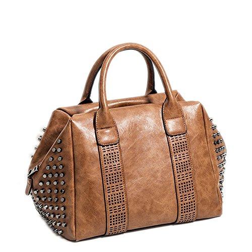 Leather Studded Messenger Bag - Mn&Sue Retro Women Top Handle Satchel Rivet Studded Tote Handbag PU Leather Roomy Shoulder Bags (Brown)