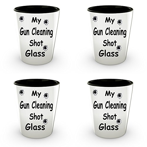 My Gun Cleaning Shot Glass 1.5 oz Funny Shot Glass Unique Ceramic Gift For Friends Or Co-workers. Great For Bars And Mantowns Where Shots Rule (4)