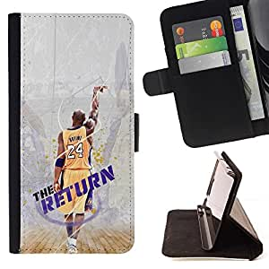 For Apple Iphone 4 / 4S 24 Bryant - Lakers - The Return Beautiful Print Wallet Leather Case Cover With Credit Card Slots And Stand Function
