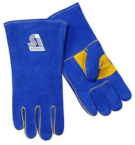 Steiner 2519BK-L Premium Side Split Cowhide Stick Welding Gloves with ThermoCore Foam Lined and Kevlar Lined Palm, Blue, Large