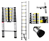 Todeco - Telescopic ladder, Foldable Ladder - Maximum load: 330 lbs - Number of steps: 11 - 10.5 feet, EN 131-6, Extra gap