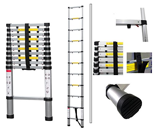 Todeco - Telescopic ladder, Foldable Ladder - Maximum load: 330 lbs - Number of steps: 11 - 10.5 feet, USA, Extra gap