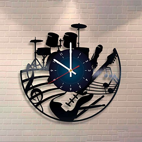 GUITAR DRUMS Music Vinyl Record Wall Clock - room wall decor