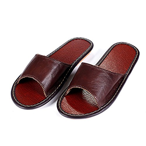Floor Red Slippers for Sheepskin Leather Summer Women Home Indoor Baolustre Spring and Slippers IPwf7nq