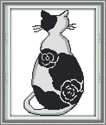 Zamtac The Black and White cat Cross Stitch kit Cartoon Animal aida 14st 11ct Count Canvas Stitches Embroidery DIY Handmade Needlework - (Cross Stitch Fabric CT Number: 11ct unprint Canvas) (Cross Cat Black Stitch)