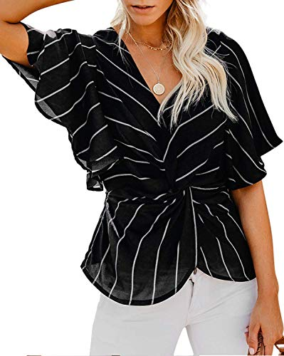 ELF QUEEN Womens Casual Short Sleeve V Neck Ruched Twist Floral Tunic Tops for Women Shirts Tops and Blouse Strip Black Medium