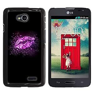 Caucho caso de Shell duro de la cubierta de accesorios de protección BY RAYDREAMMM - LG Optimus L70 / LS620 / D325 / MS323 - Lips Stars Glitter Bright Black Love