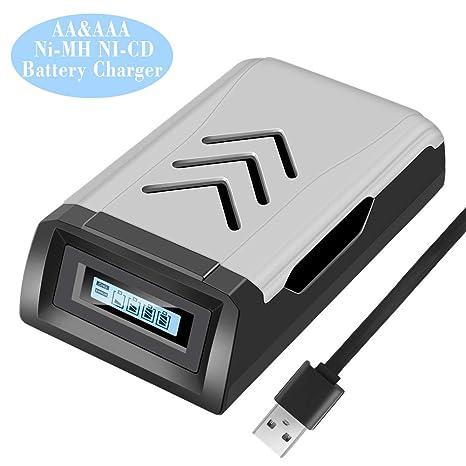 DUTISON 4 Bays AA AAA Cargador de batería LCD visualización ...