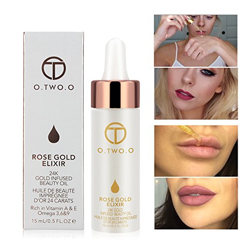(O.TWO.O Makeup Oil 24k Rose Gold Elixir Skin Beauty Oil Essential Oil Before Primer Foundation Moisturizing Face Oil Make Up Base For Face)
