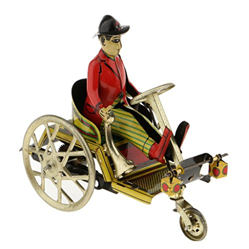 Wind Up Tricycle (MagiDeal Retro Gentleman Riding Tricycle Model Wind-up Clockwork Tin Toy Collectibles Decoration Kids Gift)