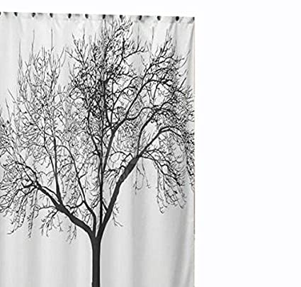 Amazon JILLBAN Shower Curtain White Waterproof Bathroom Fabric
