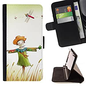 DEVIL CASE - FOR LG G2 D800 - Design Happy Scarecrow - Style PU Leather Case Wallet Flip Stand Flap Closure Cover