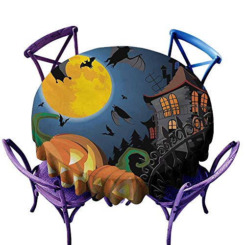 Stain Resistant Round Tablecloth,Halloween Gothic Halloween Haunted House Party Theme Design Trick or Treat for Kids Print,Table Cover for Home Restaurant,60 INCH,Multicolor -