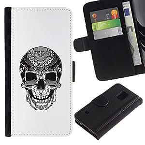 All Phone Most Case / Oferta Especial Cáscara Funda de cuero Monedero Cubierta de proteccion Caso / Wallet Case for Samsung Galaxy S5 V SM-G900 // Biker Cool Skull Death White Black