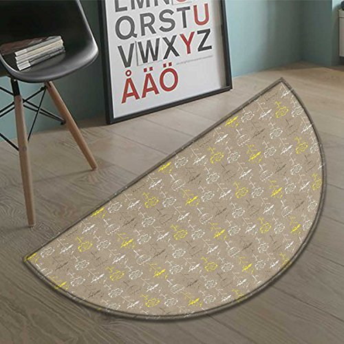 Grey and Yellow Bath Mat non slip Hand Drawn Sketchy Tulips Flowers Leaves Butterflies Art Image Customize door mats for home Mat Cocoa Black and White size:23.7