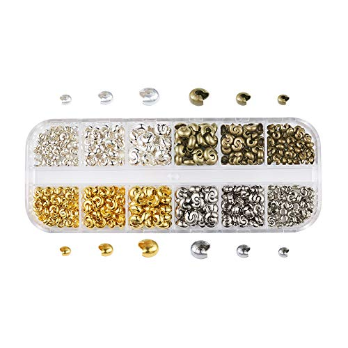 Pandahall 1Box/540pcs 4 Colors 3.2mm 4mm 5mm Iron Half Round Open Crimp Beads Covers Knot Covers Beads End Tips for Jewelry Makings Antique Bronze & Silver & Golden & Platinum
