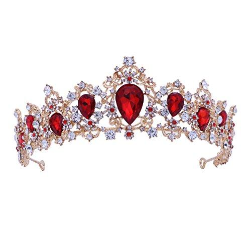 Frcolor Tiara Crown para mujer, coronas de diamantes de imitacion boda Tiaras coronas de vincha (roja)
