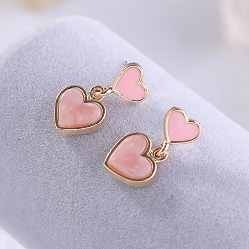 Sweet Clip on Earrings Tiered Pink Heart Clips Layered Gold Plated Stone Dangle Drop for Girls Women