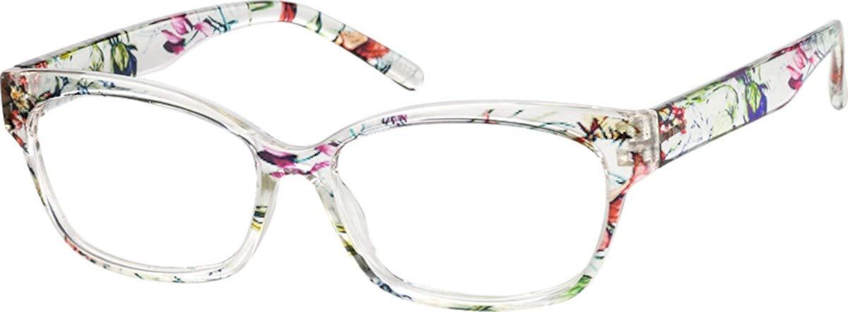 Womens Zenni Optical Blokz Blue Light Blocking Computer Glasses Cat-Eye Floral Pattern Frame 2018723