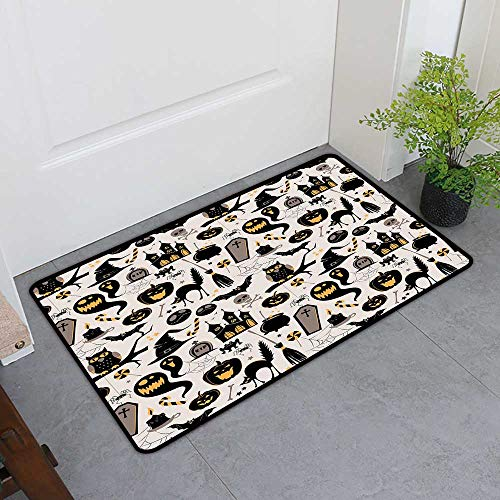 (TableCovers&Home Magic Doormat, Vintage Halloween Non-Slip Rugs for Kids Room, Halloween Cartoon Jack o Lantern Tombstone Skulls and Bones (Light Grey Multicolor, H36 x)