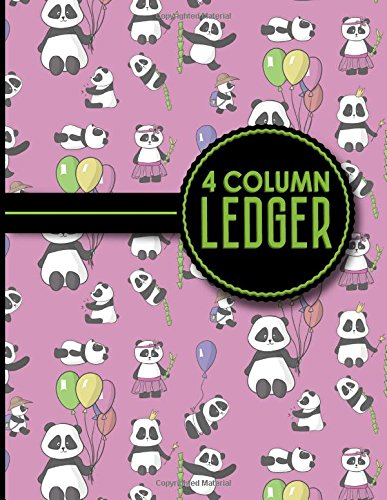 "4 Column Ledger: Ledger Books, Accounting Ledger Sheets, General Ledger Accounting Book, Cute Panda Cover, 8.5"" x 11"", 100 pages (4 Column Ledgers) (Volume 30)"
