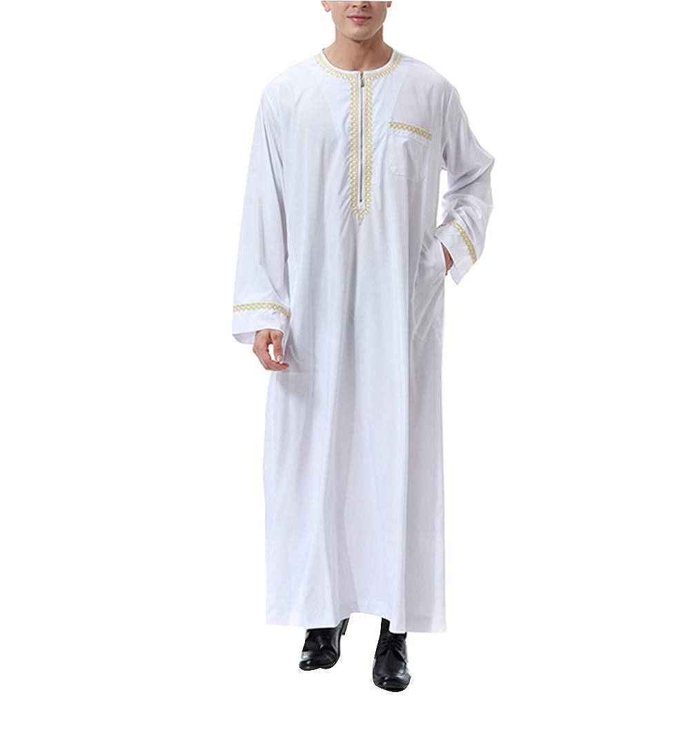 Abaya der M/änner Islamische Jalabiya Lang Maxi Langarm Kleid zhbotaolang Muslimischer Kaftan Herren Arabische Kleidung