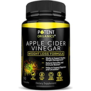 100% Organic Apple Cider Vinegar 90 Capsules For Healthy Diet & Weight Loss Pure, Raw, Vegan and Non GMO Helps Digestion Made in USA Add to Garcinia Cambogia​ and Your Diet Kits & Systems