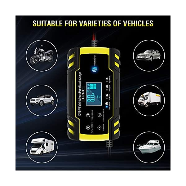 51a3PjT4l9L URAQT Autobatterie Ladegerät, Erhaltungsladegerät 8A 12V/24V, Aktualisierung Batterieladegerät Batterie Ladegerät für…