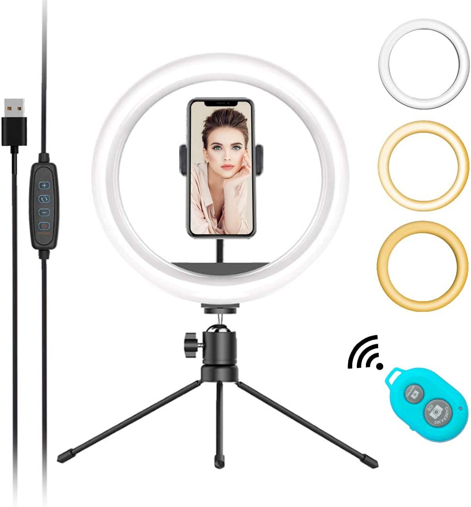 """Mountdog 10"""" Selfie Circle Ring Light with Stand and Phone Holder Dimmable 3 Light Modes&11 Brightness Levels Remote Control Desktop USB for Photography Makeup YouTube Video Live Streaming"""