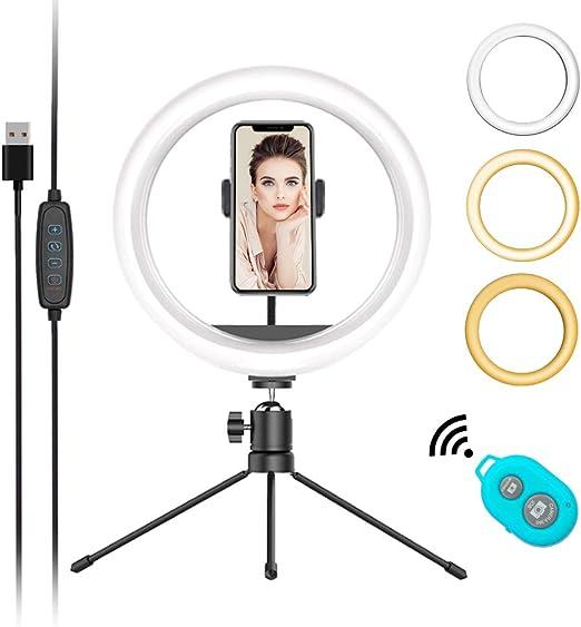 "Anillo de luz LED con Soporte 4.7/"" USB 3 modos Regulable vlogging Trípode De Fotografía"