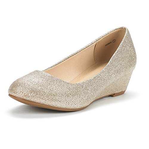 DREAM PAIRS Women's Debbie Gold Glitter Mid Wedge Heel Pump Shoes - 11 M (Pump Wide Width Platform)