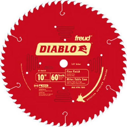 - Freud D1060X Diablo 10-Inch 60 Tooth ATB Fine Finish Saw Blade with 5/8-Inch Arbor and PermaShield Coating