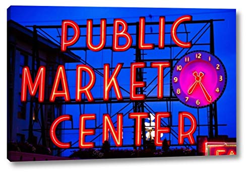 "Public Market Sign II by Bob Stefko - 19"" x 28"" Gallery Wrapped Giclee Canvas Print - Ready to Hang"
