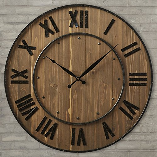Northrop 24 Black Oversized Wine Barrel Wall Clock, Quartz Movement, Wood and Steel