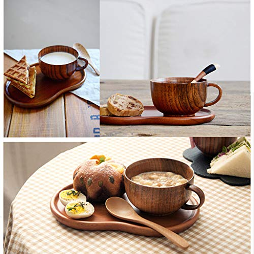 Wooden Coffee Cup Handmade Natural Eco-friendly Drinking Cup Unbreakable Water Mug with Handle for Home,Parties, Events, BBQ, Weddings (Brown) by Aibiner -Christmas (Image #2)