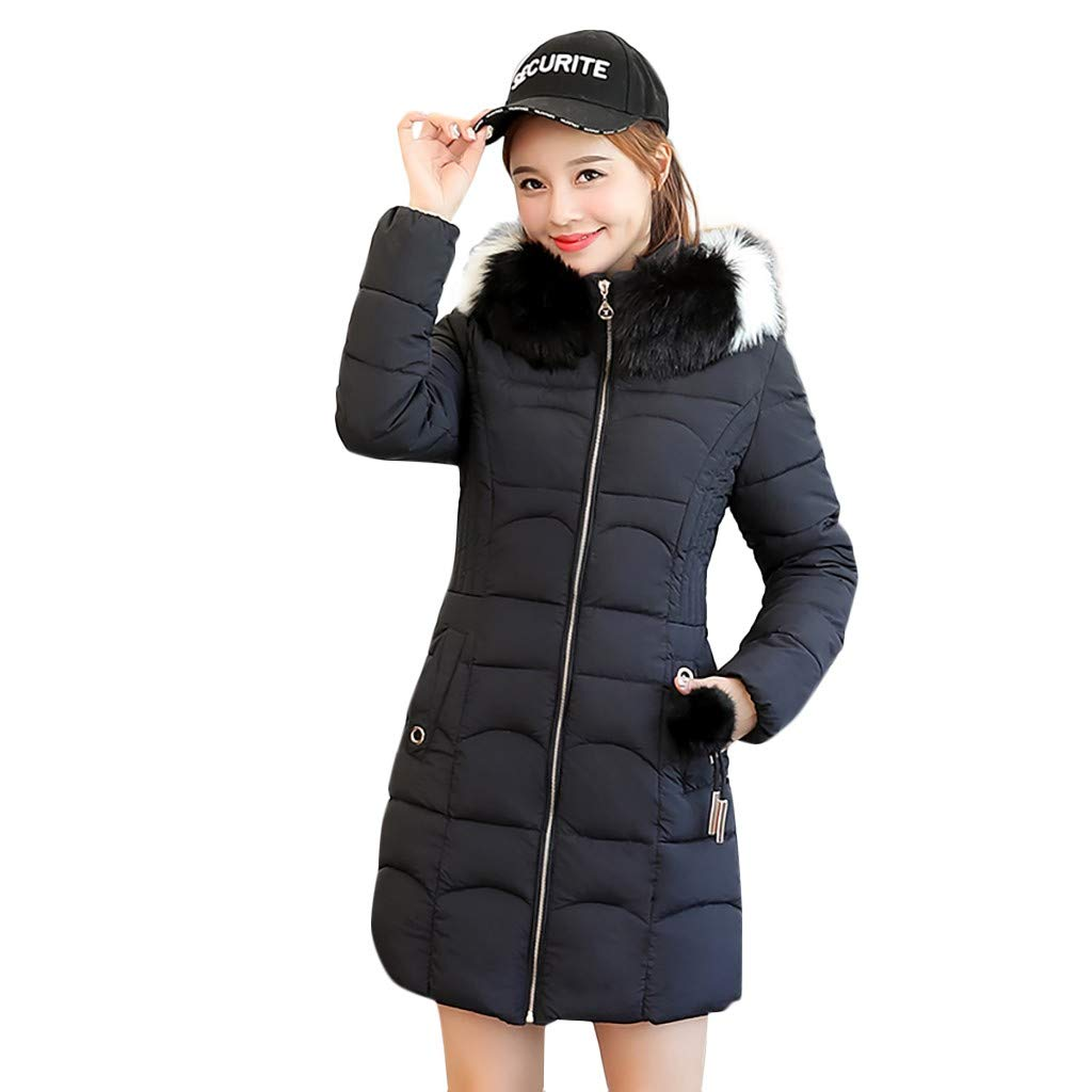 Benficial Women Winter Warm Coat Hooded Thick Warm Loose Zipper Pocket Jacket Long Overcoat Black by Benficial