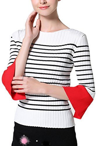 Suéter Casual de la mujer media manga Color Block raya BlackStripes
