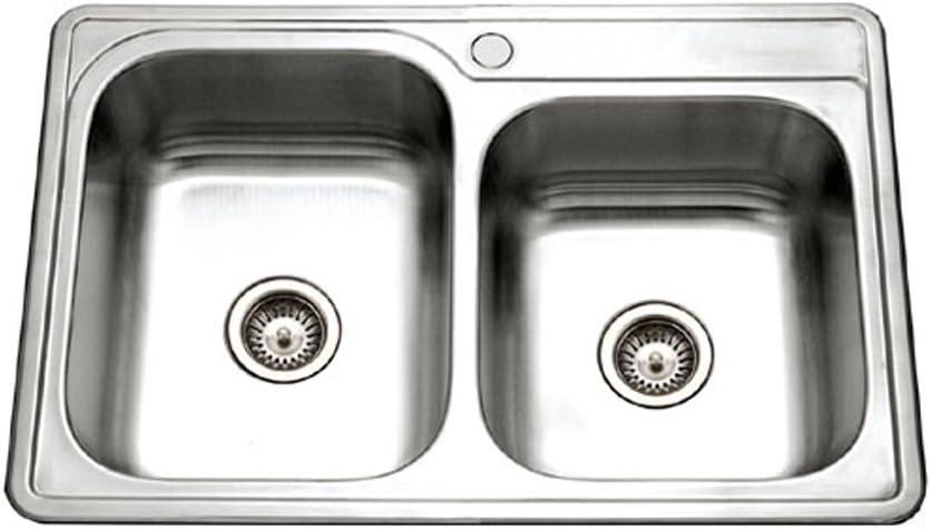 Houzer ISL-3322BS1-1 Glowtone Series Topmount Stainless Steel 1-hole 60/40 Double Bowl Kitchen Sink